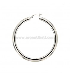 EARRINGS A CIRCLE 48 MM A CANE CRUSHED MM 2X4 SILVER RHODIUM TIT 925 ‰