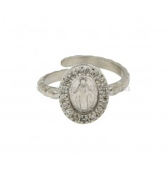 RING WITH MADONNA IN SILVER RHODIUM TIT 925 ‰ ADJUSTABLE SIZE AND ZIRCONIA