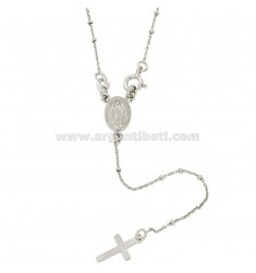 ROSARY NECKLACE CABLE WITH BALL 1.8 MM SILVER RHODIUM TIT 925 ‰ CM 45