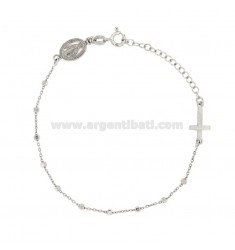 BRACELET ROSARY CABLE WITH DISCO BALL 2,5 MM SILVER RHODIUM TIT 925 ‰ CM 17.20