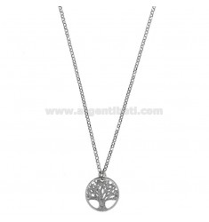 ROLO NECKLACE &amp 39CM 45 WITH TREE OF LIFE 15MM WITH GLITTER IN SILVER RHODIUM TIT 925 ‰