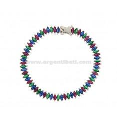 QUILL Tennis.Armband 18 cm Silber rhodiniert TIT 925 ‰ mit farbigem ZIRCONIA