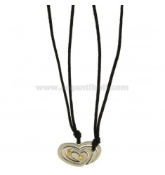 DIVIDED HEART PENDANT STEEL AND INSERTS Bilamina BRASS AND GOLD WITH LACES 2 SILK CERATA
