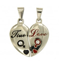 PENDANT HEART DIVIDED IN STEEL WITH POLISH AND ZIRCONIA