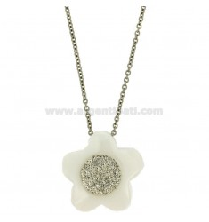FLOWER PENDANT MM 33X33 IN WHITE CERAMIC AND ZIRCONS WITH STEEL ROLO CHAIN CM 50