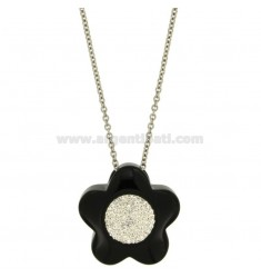 FLOWER PENDANT MM 33X33 IN BLACK CERAMIC AND ZIRCONS WITH STEEL ROLO CHAIN CM 50