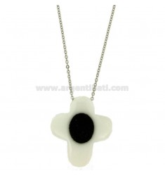 CRICE PENDANT 38X34 MM IN WHITE CERAMIC AND BLACK ZIRCONS WITH STEEL ROLO CHAIN CM 50