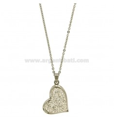 PENDANT HEART 28x21 MM STEEL AND ZIRCONIA WITH CHAIN CABLE 50 CM