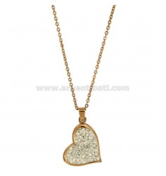 PENDANT HEART MM 28x21 STEEL PLATED ROSE GOLD AND ZIRCONIA WITH CHAIN CABLE 50 CM