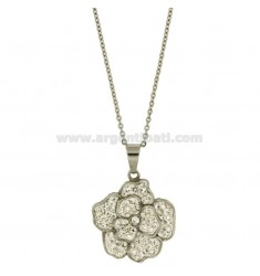 CHARM FLOWER 33X30 MM section steel And ZIRCONS CHAIN CABLE 50 CM