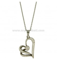 PENDANT HEART 36X32 MM STEEL AND ZIRCONIA WITH CHAIN CABLE 50 CM