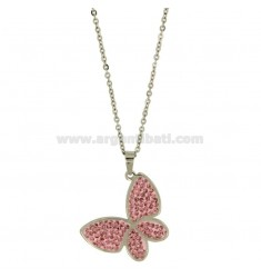 PENDANT BUTTERFLY 22X31 MM STEEL AND ZIRCONIA PINK CHAIN CABLE 50 CM