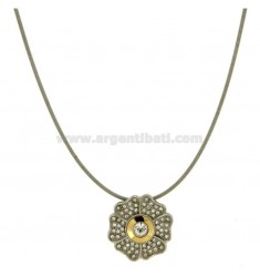 DAISY PENDANT 22 MM STEEL INSERTS IN GOLD 75 ‰ And ZIRCONE WIRE TUBE STEEL MM 2 CM 40