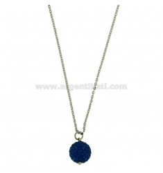PENDANT BALL 12 MM WITH PAVE &39ZIRCONS OF BLUE AND CHAIN CABLE STEEL 50 CM