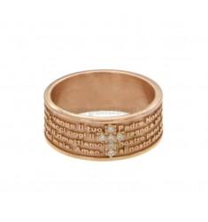 La venda del anillo 7,5 MM CON NUESTRO PADRE Y CRUZ DE COBRE Zirconia TIT 925 ‰ Medida 10