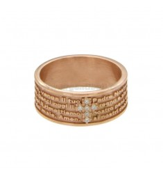 BAND RING 7.5 MM WITH OUR FATHER AND CROSS OF ZIRCONIA SILVER COPPER TIT 925 ‰ MEASURE 14
