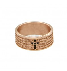 BAND RING 7.5 MM WITH OUR FATHER AND CROSS OF ZIRCONIA SILVER COPPER TIT 925 ‰ SIZE 16