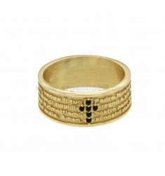BAND RING 7.5 MM WITH OUR FATHER AND CROSS IN SILVER ZIRCONIA TIT 925 ‰ SIZE 20