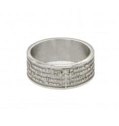 La venda del anillo 7,5 mm con nuestro padre y la cruz de plata del rodio ZIRCONIA TIT 925 ‰ Medida 10