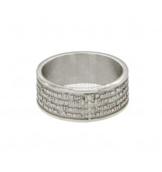 BAND RING 7.5 MM WITH OUR FATHER AND CROSS OF ZIRCONIA SILVER RHODIUM TIT 925 ‰ MEASURE 18