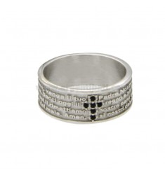 BAND RING 7.5 MM WITH OUR FATHER AND CROSS OF ZIRCONIA SILVER RHODIUM TIT 925 ‰ SIZE 16