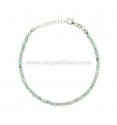 TIFFANY GREEN BRACELET WITH CRYSTALS AND SILVER RHODIUM TIT 925 ‰ CM 18.20