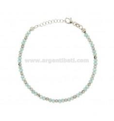 TIFFANY pulsera verde con los cristales y plata del rodio TIT 925 ‰ 18.20 CM
