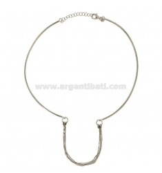 NECKLACE WITH SEMI tuft of GRUMETTINE CENTRAL SILVER RHODIUM TIT 925 ‰
