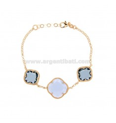 BRACELET WITH ROLO CHAIN AND FLOWERS IN BLUE-COLORED HYDROTHERMAL STONES AND 1-28-1 SUGAR PAPER IN AG ROSE GOLD PLATED TIT 925 ‰
