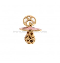 Pendant pacifier TRAFORATO WITH ANGELS MM 16x15 WITH RATTLE WITH POLISH SILVER COPPER TIT 925