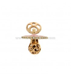 Pendant pacifier TRAFORATO WITH ANGELS MM 16x15 WITH RATTLE WITH POLISH AND ZIRCONIA SILVER COPPER TIT 925
