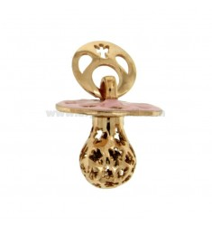 Pendant pacifier TRAFORATO WITH ANGELS MM 24x21 WITH RATTLE SILVER COPPER TIT 925 ‰ AND GLAZE