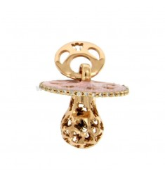Pendant pacifier TRAFORATO WITH ANGELS MM 24X21X WITH RATTLE WITH POLISH AND ZIRCONIA SILVER COPPER TIT 925