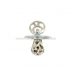 Pendant pacifier TRAFORATO WITH ANGELS MM 16x15 WITH RATTLE WITH POLISH SILVER RHODIUM TIT 925