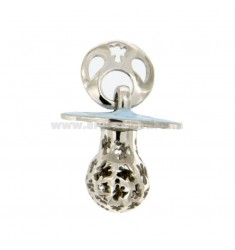 Pendant pacifier TRAFORATO WITH ANGELS MM 24x21 WITH RATTLE SILVER RHODIUM TIT 925 ‰ AND GLAZE