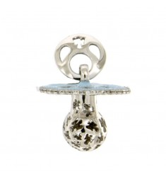 Pendant pacifier TRAFORATO WITH ANGELS MM 24X21X WITH RATTLE WITH POLISH AND ZIRCONIA SILVER RHODIUM TIT 925