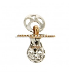 Pendant pacifier TRAFORATO WITH ANGELS MM 24x21 WITH RATTLE SILVER RHODIUM AND COPPER TIT 925 ‰ AND ZIRCONIA