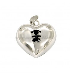 Pendant CALLING ANGELS SOUND HEART MM 27X26 SILVER RHODIUM TIT 925 ‰ GIRL WITH THROUGH