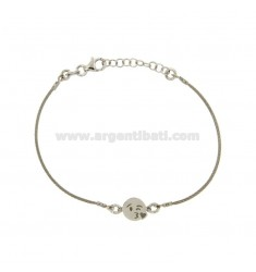 BRACCIALE CAVETTO CON EMOTICON BACIO IN ARGENTO RODIATO TIT 925‰ CM 16-18