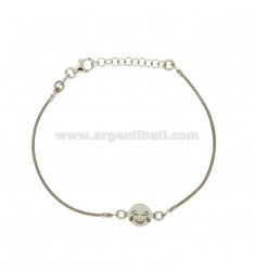 BRACCIALE CAVETTO CON EMOTICON RISATA IN ARGENTO RODIATO TIT 925‰ CM 16-18