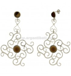 ZINGARA EARRINGS MM 90X55 IN SILVER RHODIUM TIT 925 ‰ AND SMOKED QUARTZ