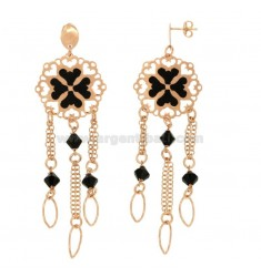 A GYPSY EARRINGS WITH CLOVER MM 90X27 SILVER COPPER TIT 925 ‰ AND POLISH FIETRE Faceted BLACK