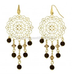 EARRINGS A GYPSY IN MM 90X39 SILVER TITLE 925 ‰ STONES Faceted FUME &39AND YELLOW CRYSTALS