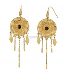 EARRINGS ZINGARA MM 95X30 SILVER GOLD ANTIQUE TIT 925 ‰ AND CRYSTAL