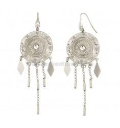 EARRINGS ZINGARA MM 95X30 SILVER RHODIUM TIT 925 ‰ AND CRYSTAL