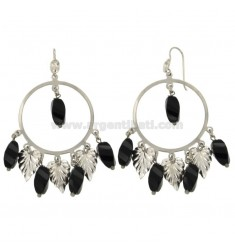 EARRINGS ZINGARA MM 65x38 SILVER RHODIUM TIT 925 ‰ AND BLACK AGATE
