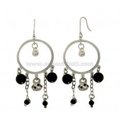 EARRINGS ZINGARA MM 66X30 SILVER RHODIUM TIT 925 ‰ BAG WITH GLAZED AND BLACK AGATE