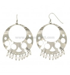 EARRINGS ZINGARA MM 62X43 SILVER RHODIUM TIT 925 ‰ AND WHITE AGATE