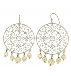 EARRINGS ZINGARA MM 67X40 SILVER RHODIUM TIT 925 ‰ AND WHITE PEARLS