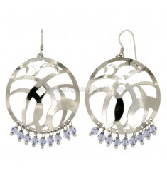 EARRINGS ZINGARA MM 62X38 SILVER RHODIUM TIT 925 ‰ AND CRYSTAL FACETED LILAC